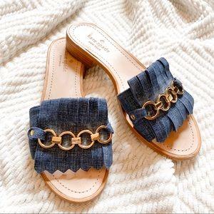 Kate Spade Brie Blue Denim Gold Chain Slide Sandal